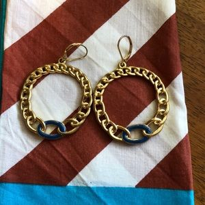 Lord and Taylor gold plated hoops with enamel